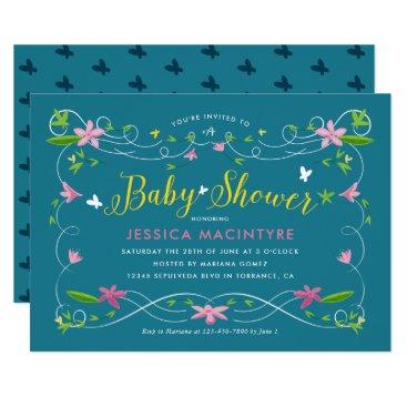 Spring Garden Turquoise Yellow Gender Baby Shower Card