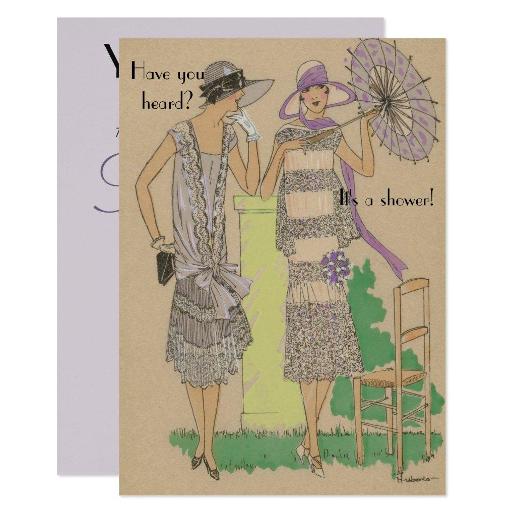 Spring Parisian Flapper Fashion Shower Invitation