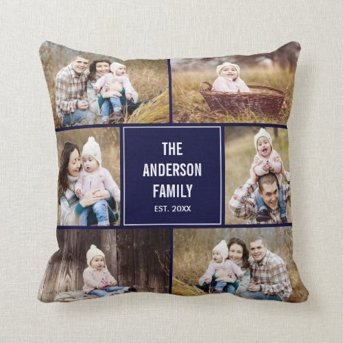 Square Photo Collage Custom Throw Pillow