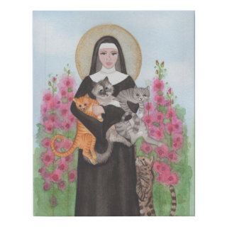 St. Gertrude Cat Lady Affordable Alternative Faux Canvas Print