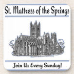 """St. Mattress Of The Springs"" Church cork coasters"