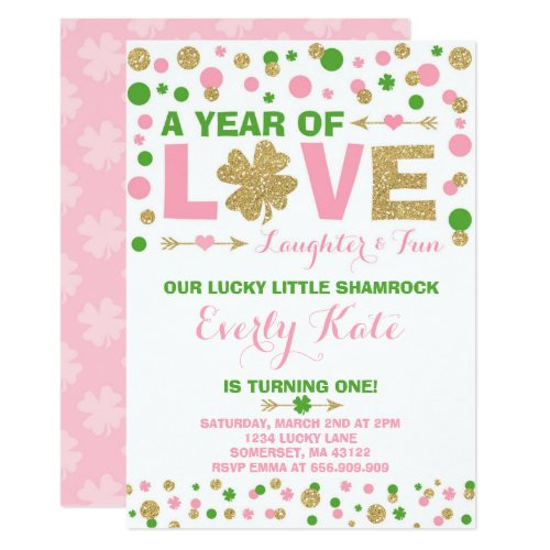 St. Patrick's Birthday Invitation Little Shamrock
