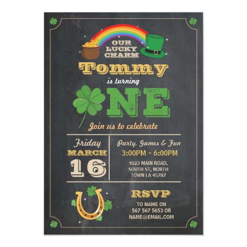 St. Patricks Day 1st Birthday Party Invite One