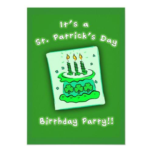 St Patricks Day Birthday Party Custom Invitations
