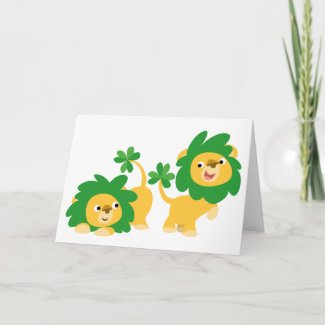 St Patrick's Day Cartoon Lions greeting card card
