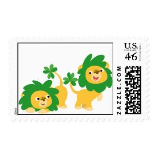 St Patrick's Day Cartoon Lions postage stamp stamp
