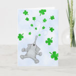 St. Patrick's Day Elephant, Showering Blessings Card
