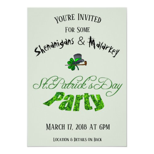 St. Patrick's Day Party Invitation Light Green -