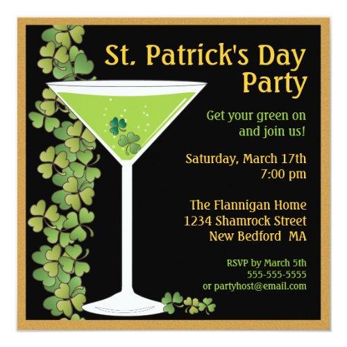 St. Patricks Day Shamrock Martini Invitation