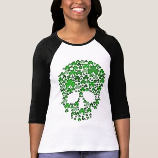 St Patricks Day Shamrock Skull T Shirts