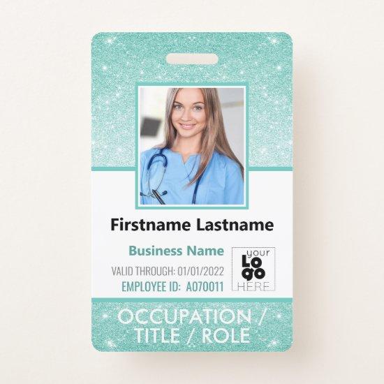 Staff Photo ID Barcode Logo Aqua Blue Glitter Name Badge
