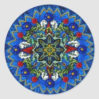 Stained Glass Rose Window Mandala Sticker | Zazzle.com