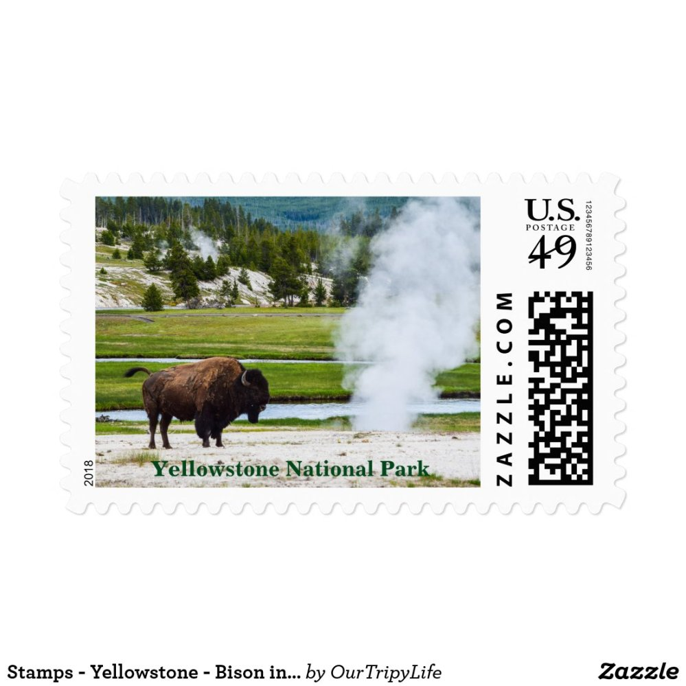 Stamps - Yellowstone - Bison in Geyser Basin