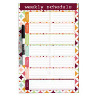 Star Burst Weekly Schedule Dry Erase Board