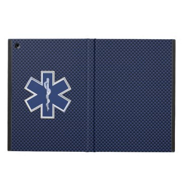Star of Life Paramedic EMS on Blue Carbon Fiber iPad Air Case
