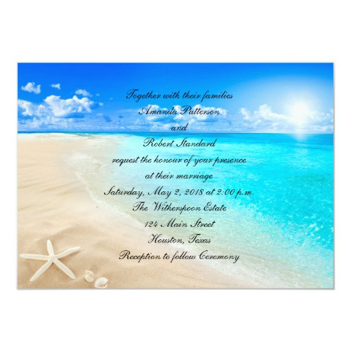Starfish Destination Beach Wedding Invitation  Zazzle
