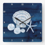 Starfish Sea Shells Beach Sand Dollar Blue n White Square Wall Clock