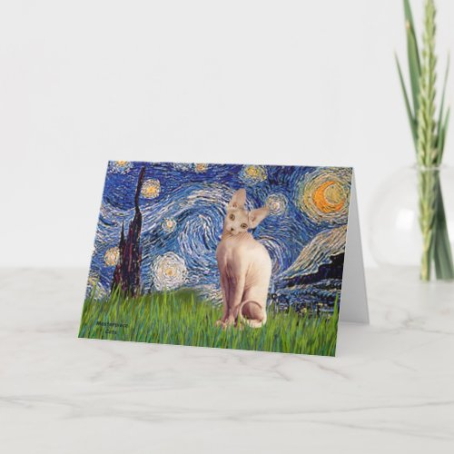 Starry Night - Cream Sphynx Cat Card