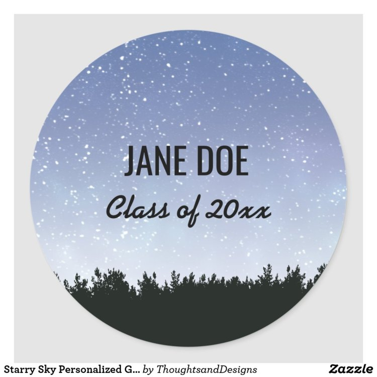Starry Sky Personalized Graduation Stickers