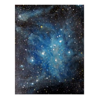 Stars Space Art Poster - Pleiades Painting print