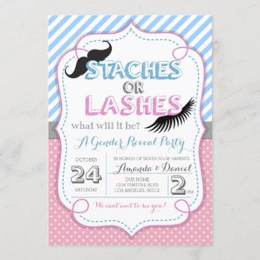 Stashes or Lashes Gender Reveal Invitation