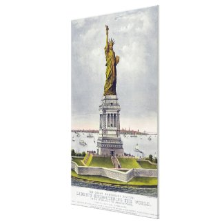 Statue of Liberty Historical Lithograph (1886) Canvas Print