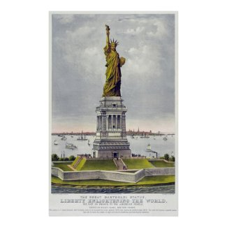 Statue of Liberty Historical Lithograph (1886) Print