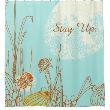 Stay Up - Retro Floral Design Shower Curtain