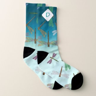 Steampunk Dragonflies Ombre Blue Monogrammed Large Socks - click through to purchase
