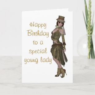 steampunk fashion birthday card