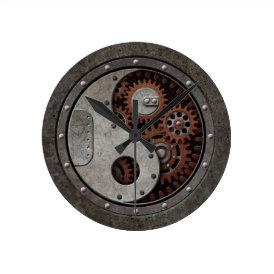 Steampunk Yin Yang Round Clock