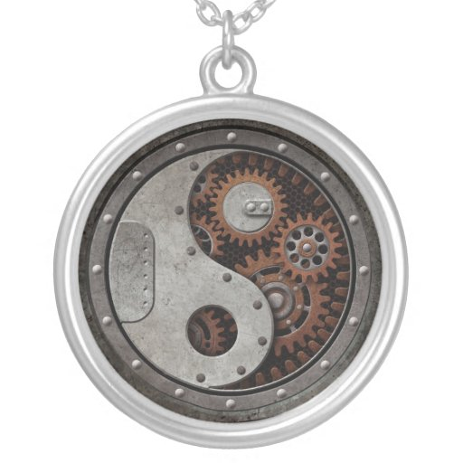 Steampunk Yin Yang Round Pendant Necklace