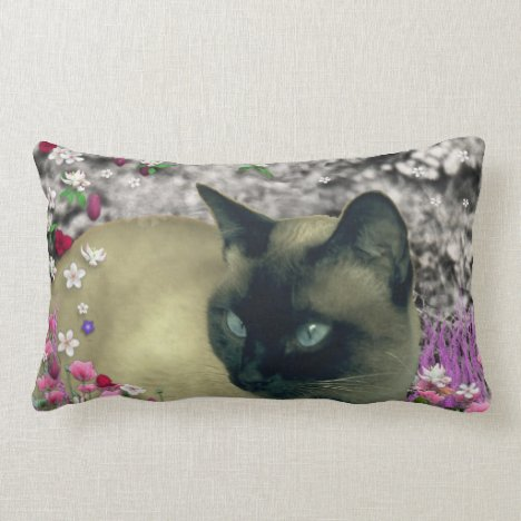 Stella in Flowers I, Chocolate & Cream Siamese Cat Lumbar Pillow