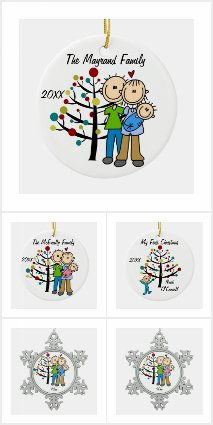 Stick Figure Family Ornaments