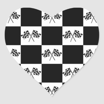 Sticker Love Auto car Racing Checkered Flags Flag