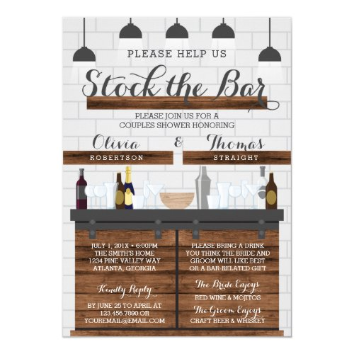 Stock the Bar Housewarming Party, Farmhouse Style Invitation