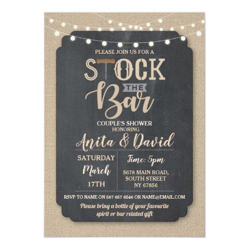 Stock The Bar Party Couple&#39&#x3B;s Shower Burlap Chalk Invitation