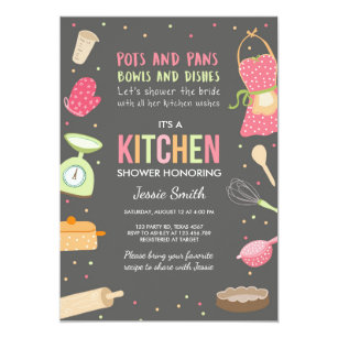 kitchen bridal shower mid century modern chairs invitations zazzle stock the invitation cooking
