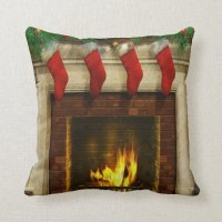 Stockings by the Fireplace Throw Pillow