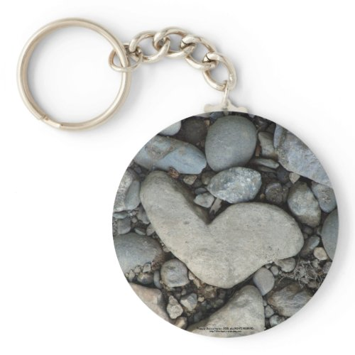 stone heart on a gravel road keychain