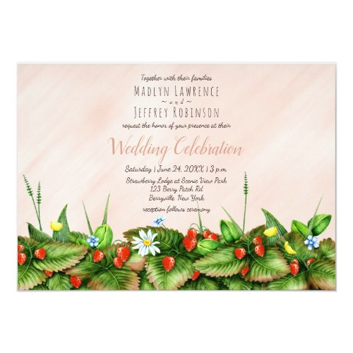 Strawberries in meadow wildflowers country wedding card