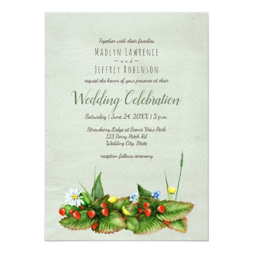 Strawberries meadow flowers botanical wedding card