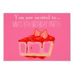 Strawberry cheesecake girl or tween birthday party invitation