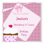 Strawberry N Cream Cupcake Invite