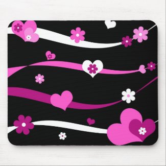 Strings of hearts and flowers mousepad