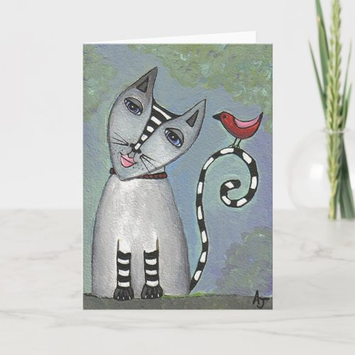 Striped Cat & Red Bird - Greeting Card