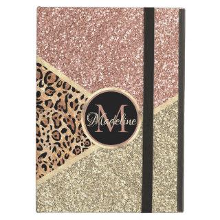 Striped Rose Gold Glitter Leopard Monogram Case For iPad Air