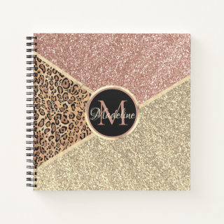 Striped Rose Gold Monogram Notebook