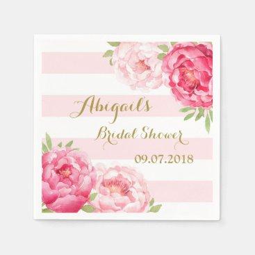 Stripes Pink Watercolor Bridal Shower Napkins