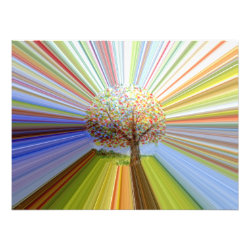 Stripy Autumn Tree Abstract Art Photo Print